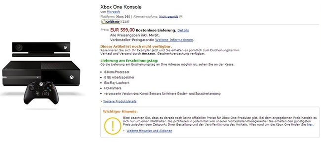 Xbox One news: 599€ per Amazon e region-locked